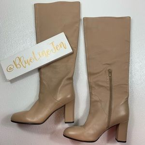 Soho Leather Knee Boots Desert Color